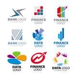 Logotipos para los bancos y las sociedades financieras ilustración del vector