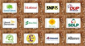 Logotipos parlamentarios BRITÁNICOS e iconos del partido político stock de ilustración