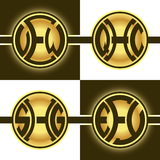 Logotipos redondos creativos con 3 letras iniciales ilustración del vector