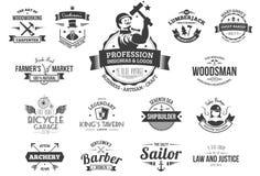 Logotipos retros de la profesión libre illustration