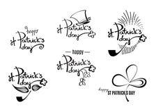 Logotipos retros do preto do dia do ` s de St Patrick com rotulação Vetor Imagens de Stock Royalty Free