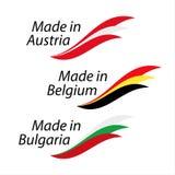 Logotipos simples hechos en Austria, hecha en Bélgica y Made en búlgaro ilustración del vector