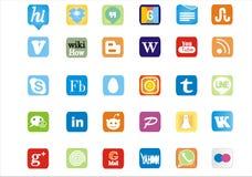 Logotipos sociais famosos & na moda & ícones dos meios Imagens de Stock