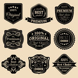 Logotipos superiores ajustados Os melhores emblemas bem escolhidos Crachás da qualidade Usado para etc. do anúncio, da marcagem c Fotografia de Stock Royalty Free