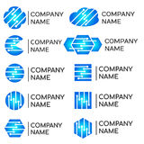 Logotipos técnicos dos colaboradores modernos dos programadores ajustados Imagens de Stock Royalty Free