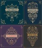 Logotipos/tarjetas y elementos del vintage Plantillas del vector Fotos de archivo