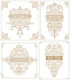 Logotipos/tarjetas y elementos del vintage Plantillas del vector Fotografía de archivo libre de regalías