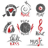 Logotipos tirados mão e emblemas da música Foto de Stock Royalty Free