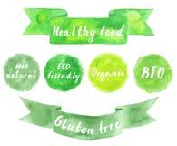 Logotipos verdes de la acuarela fijados Fotografía de archivo libre de regalías