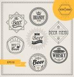 Logotipos y emblemas del alcohol del vector Fotografía de archivo