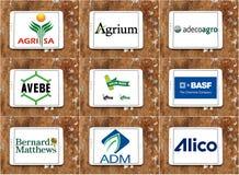 Logotipos y marcas famosos superiores de las compañías de la agricultura Imagen de archivo libre de regalías