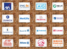 Logotipos y marcas famosos superiores de las compañías de seguros Fotos de archivo