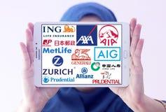 Logotipos y marcas famosos superiores de las compañías de seguros Fotografía de archivo libre de regalías