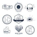 Logotipos y muestras de la música fotos de archivo