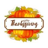 Logotyp, emblem eller symbol för dag för tacksägelse för vattenfärgdesignstil lycklig Lycklig mall för tacksägelsedaglogo Lycklig Royaltyfria Foton
