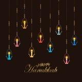 Logotyp, emblem och symbol för Chanukkah för Falt designstil lycklig royaltyfri illustrationer