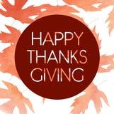Logotyp, emblem och symbol för dag för tacksägelse för vattenfärgdesignstil lycklig Lycklig mall för tacksägelsedaglogo Tacksägel Royaltyfri Fotografi