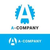 Logotyp för bokstav för blått A för vektor minimalistic Arkivbild