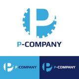 Logotyp för kugge för bokstav för blått P för vektor minimalistic royaltyfri illustrationer