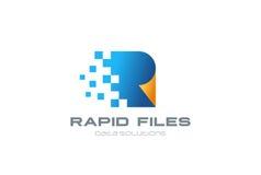Logotyp för mapp för vektor för design för Digital dokumentlogo royaltyfri illustrationer