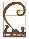 Logotyp woodworking warsztat z dobrym starym jointer i eleganccy ślimakowaci golenia przekręcaliśmy według złotej sekci depresji Zdjęcia Royalty Free