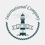 Logotyp z latarnią morską, arkana i temblak ilustracji