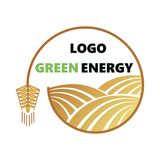 Logotype of agriculture. Logo with a field of wheat. Stylized eco logo. Green energy fields. Vector illustration. Logotype of agriculture. Logo with a field of Stock Images