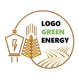 Logotype of agriculture. Logo with a field of wheat. Stylized eco logo. Green energy fields. Vector illustration. Logotype of agriculture. Logo with a field of Royalty Free Stock Photo