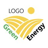 Logotype of agriculture. Logo with a field of wheat. Stylized eco logo. Green energy fields. Vector illustration. Logotype of agriculture. Logo with a field of Stock Photography