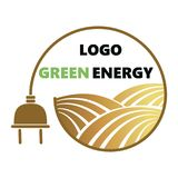 Logotype of agriculture. Logo with a field of wheat. Stylized eco logo. Green energy fields. Vector illustration. Logotype of agriculture. Logo with a field of Stock Image
