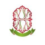 Logotype araldico d'annata di vettore fatto facendo uso di sy reale del fiore del giglio Immagini Stock