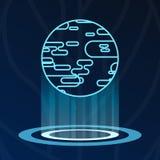 Logotype astratto delle luci dell'ologramma del pianeta della terra illustrazione di stock