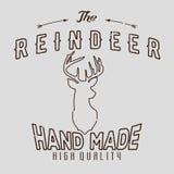 Logotype autentico dei pantaloni a vita bassa con la renna e le frecce royalty illustrazione gratis