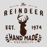 Logotype autentico dei pantaloni a vita bassa con la renna e le frecce illustrazione di stock