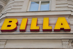 Logotype of Billa grocery store. VIENNA, AUSTRIA - JUNE 6: Logotype of Billa grocery store in Vienna on June 6, 2016. Billa is an international chain of grocery Royalty Free Stock Photos