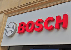 Logotype of Bosch corporation in the street of Baku Royalty Free Stock Photography