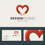 Logotype and business card template for design Royalty Free Stock Image