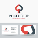 Logotype and business card template for poker club. Royalty Free Stock Photos