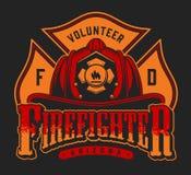 Logotype colorido do sapador-bombeiro ilustração do vetor