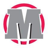 Logotype com letra M e varas do cilindro Imagens de Stock