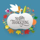 Logotype, crachá e ícone felizes do dia da ação de graças Fotografia de Stock