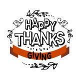 Logotype, crachá e ícone felizes do dia da ação de graças Imagens de Stock