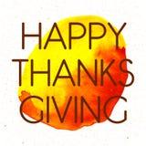 Logotype, crachá e ícone felizes do dia da ação de graças do estilo do projeto da aquarela Fotografia de Stock Royalty Free