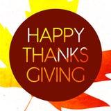 Logotype, crachá e ícone felizes do dia da ação de graças do estilo do projeto da aquarela Fotografia de Stock