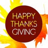 Logotype, crachá e ícone felizes do dia da ação de graças do estilo do projeto da aquarela Molde feliz do logotipo do dia da ação Fotografia de Stock Royalty Free
