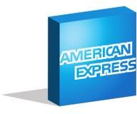 Logotype d'American Express sous la forme 3d sur la terre illustration stock