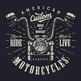 Logotype d'annata di monocromio della motocicletta royalty illustrazione gratis