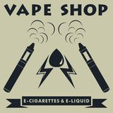 Logotype de boutique de Vape Logo d'e-cigarette de Vape Illustration de vecteur illustration libre de droits