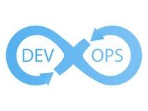 Logotype de DevOps Signe d'infini avec des flèches bleues Images libres de droits