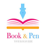 logotype de livre et de stylo Image libre de droits